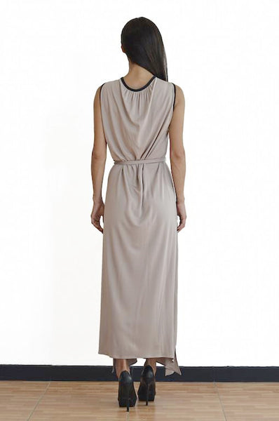 Cut-25 Leather Armor Matte Jersey Gown