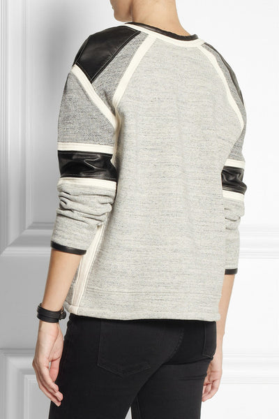 Iro Pipa Leather and Cotton Jersey Sweatshirt