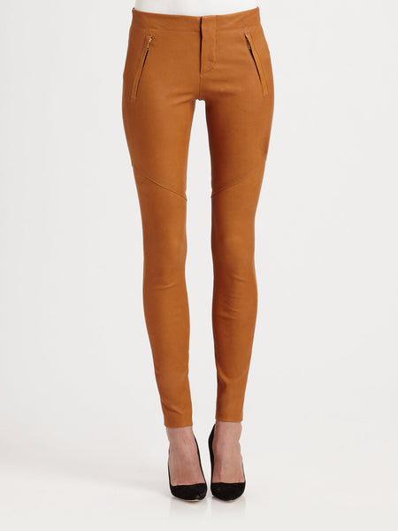 A.L.C Brown Charlotte Stretch Leather Pants