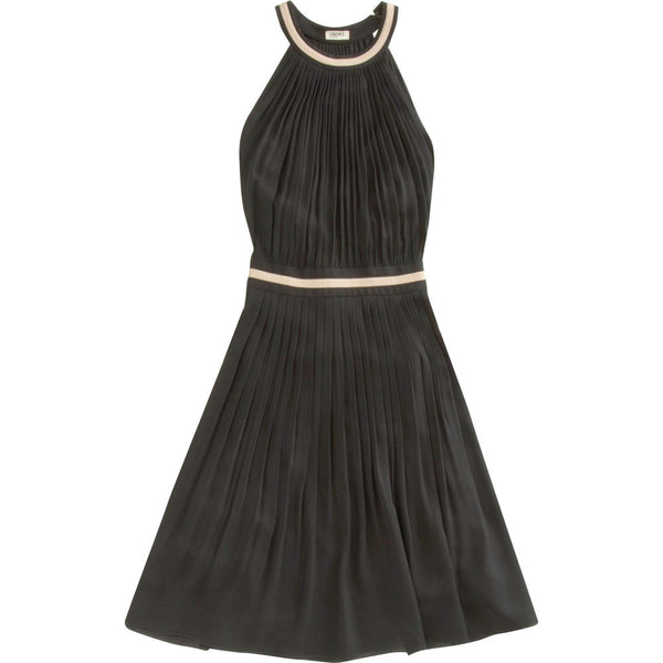 L'Agence Black Shirred A-Line Dress