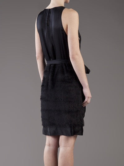 L'Agence Black Applique Sleeveless Dress