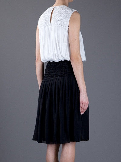 L'Agence  Black Diamond Pleat Dress