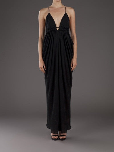 L'Agence Black Draped Long Gown