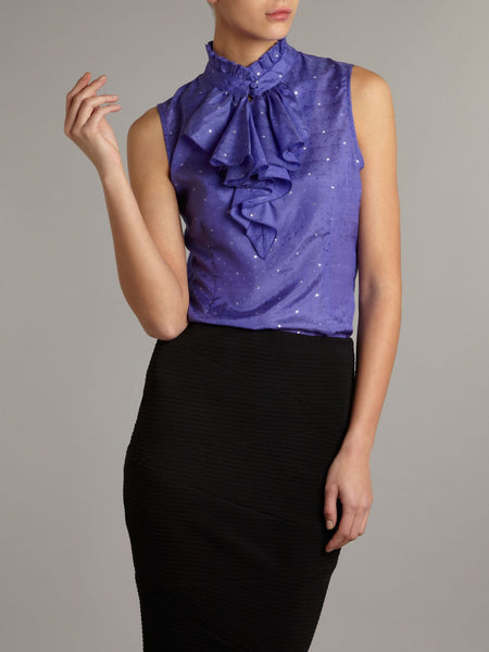 Tucker Sleeveless Ruffle Blouse