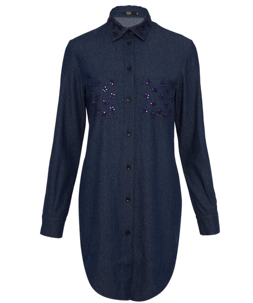 Markus Lupfer Dhalia Jewel Stone Shirt Dress
