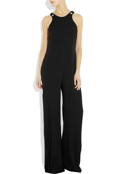 L'Agence Black Crepe Wide-leg Jumpsuit