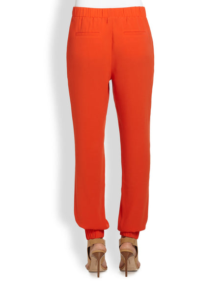 Tibi Orange Crepe Track Pants
