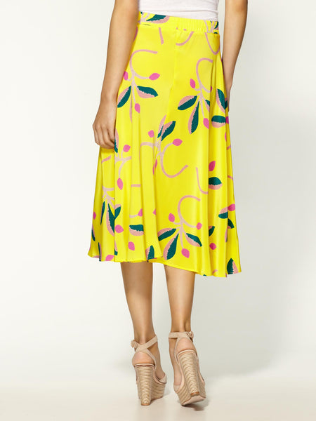 Tucker Flower Print Skirt