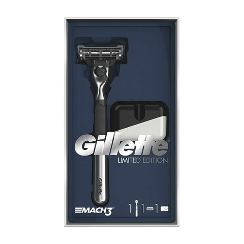 Gillette Mach 3 Razor Limited Edition Gift Set with Chrome Handle Razor & Stand