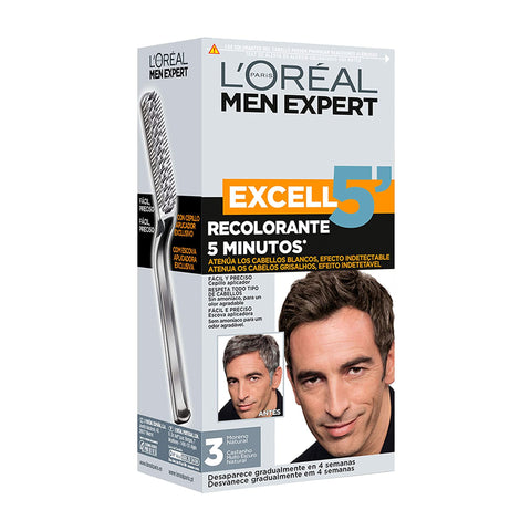 L'Oreal Men Expert Excell 5 Easy Brush Hair Colour - 3 Natural Darkest Brown