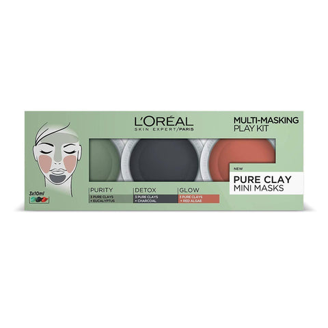 L'Oreal 3 Pure Clays Multi-Masking Face Mask Play Kit - 3 x 10 ml