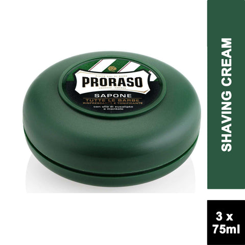 Proraso GREEN Refreshing Shaving Soap in a Bowl 75ml (3 PACK)