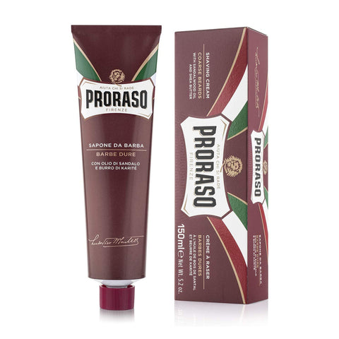 Proraso RED Shaving Cream Tube 150ml - Nourishing with Shea Butter & Sandalwood Oil