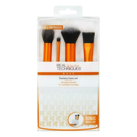 Real Techniques Flawless Base 4 piece Brush Set with Brush Cup