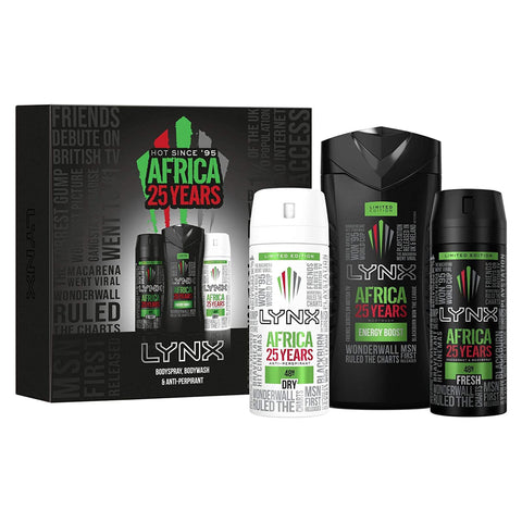 Lynx 25 Years AFRICA TRIO Gift Set with Bodyspray, Bodywash & Anti-Perspirant
