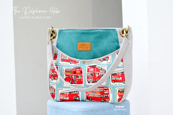 The Delphinium Hobo bag in 2 sizes - PDF sewing pattern