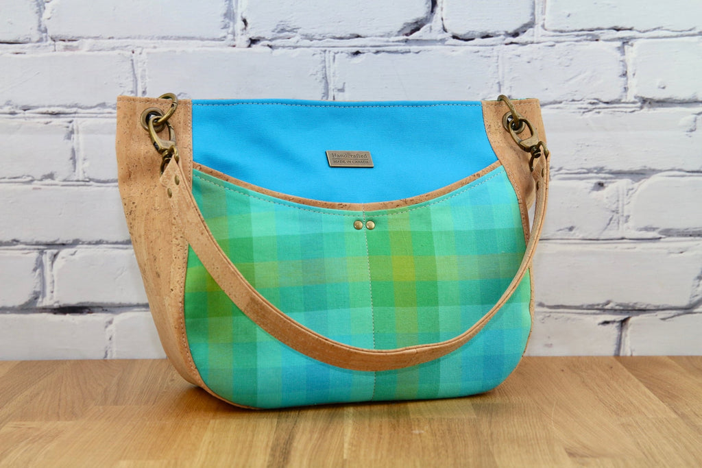 Hobo bag in natural cork and Alison Glass plaid