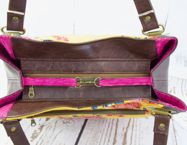 Shoulder Bag in Rose floral on Mustard with Brown Faux leather