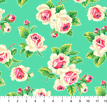 True Kisses by Heather Bailey - Rose Bunch in Bright Green