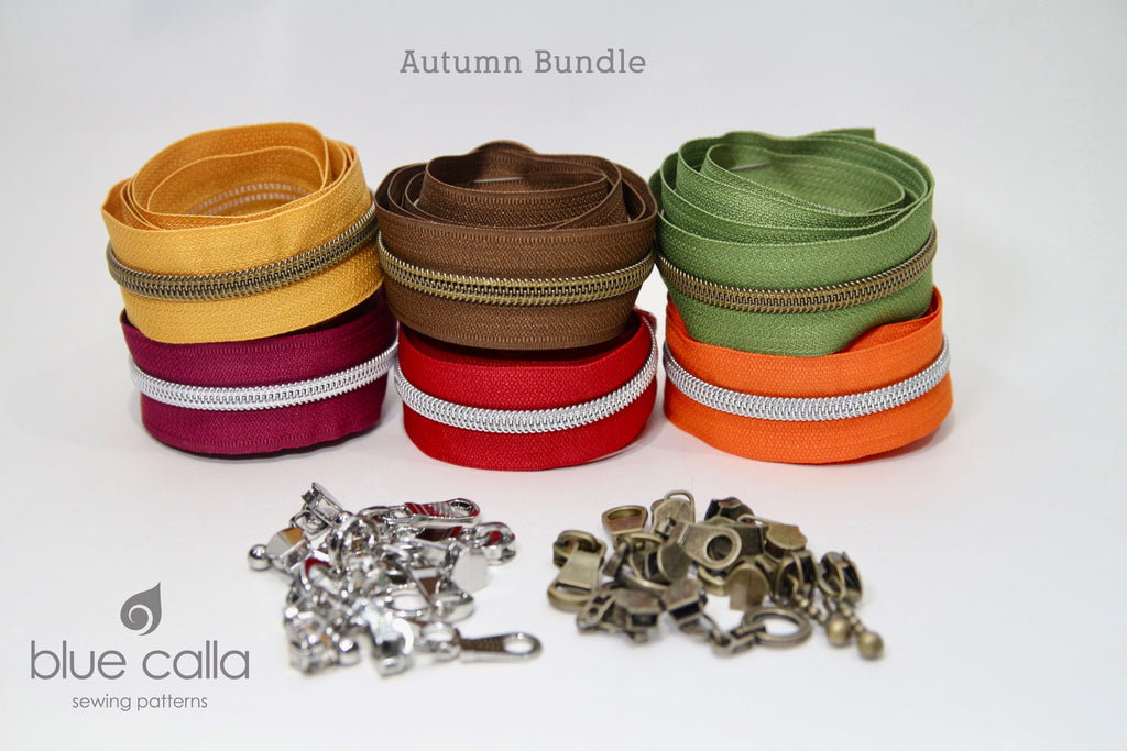 #5 Metallic Nylon Coil Zipper tape - Autumn Colour bundle