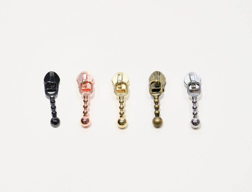 #5 coil zipper pull - AUTO LOCK Beaded style - Available in 5 finishes