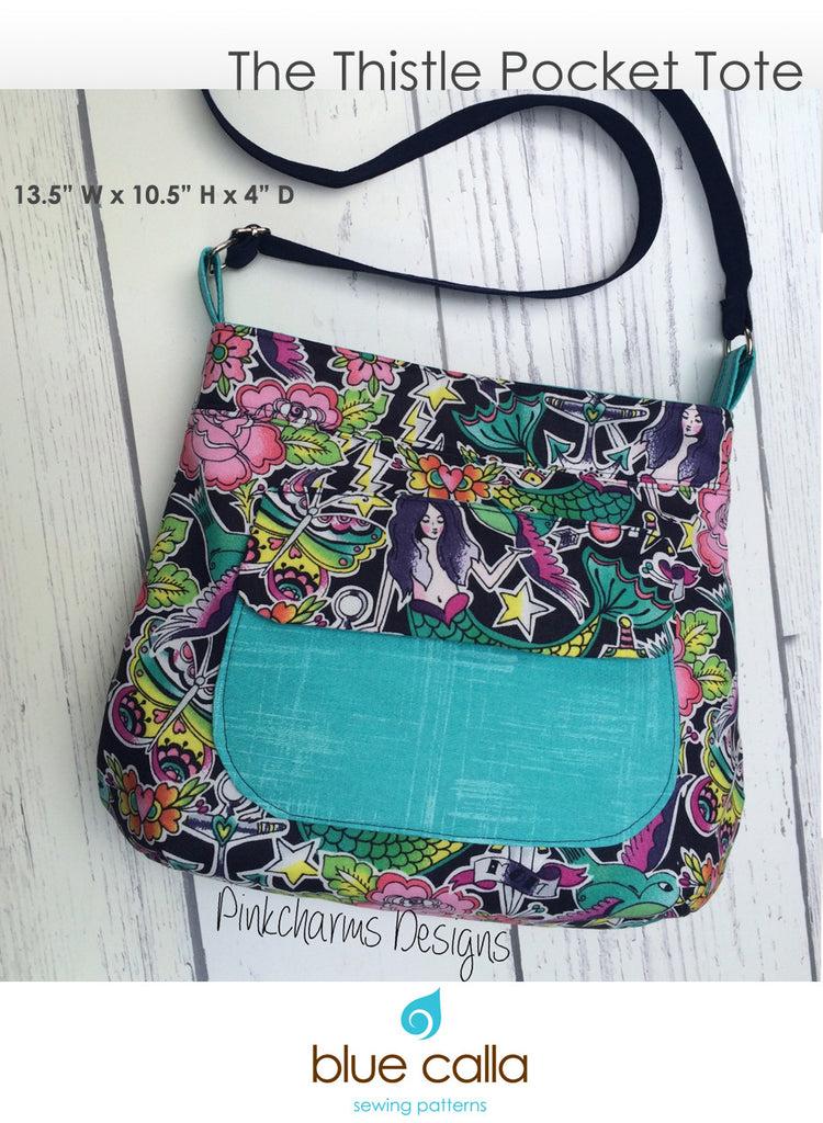 The Thistle Pocket Tote Cross Body Bag - PDF Sewing Pattern – Blue ...