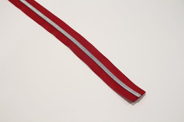 SILVER COIL - RED - #5 Metallic Nylon Coil Zipper tape
