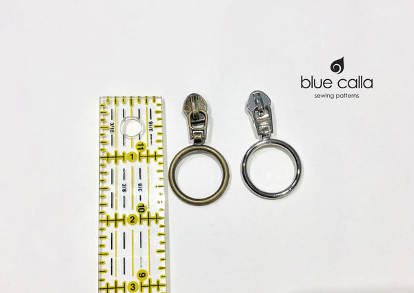 #5 coil zipper pull - Available in 6 finishes