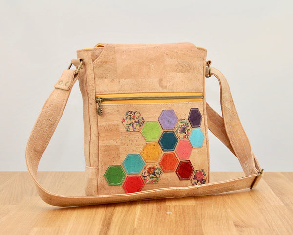 Coneflower Cross body bag in natural cork with hexie appliqué