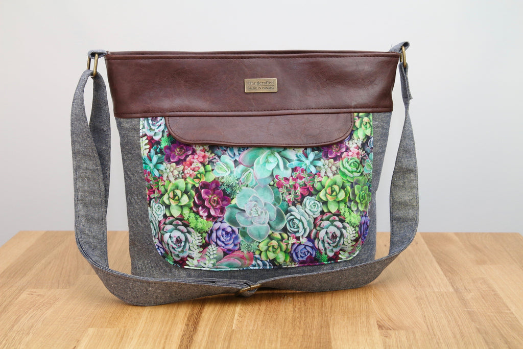 Bucket bag in Metallic Essex Linen, Succulents and brown faux leather