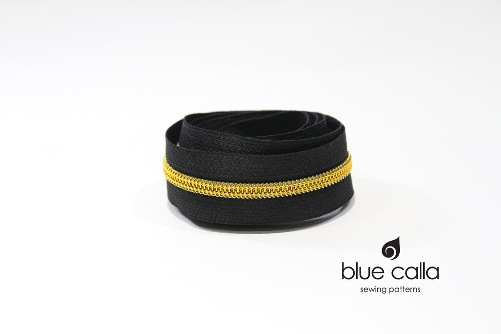 BRASS GOLD COIL - BLACK - #5 Metallic Nylon Coil Zipper tape