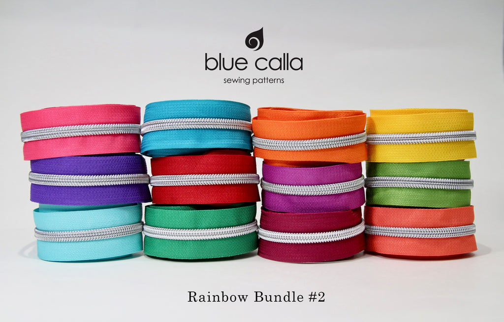 #5 Metallic Nylon Coil Zipper tape - RAINBOW bundle with SILVER coil