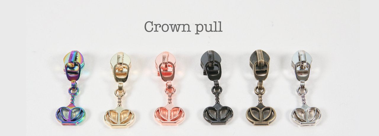 Crown Zipper pulls for #5 zipper coil in 6 metal finishes
