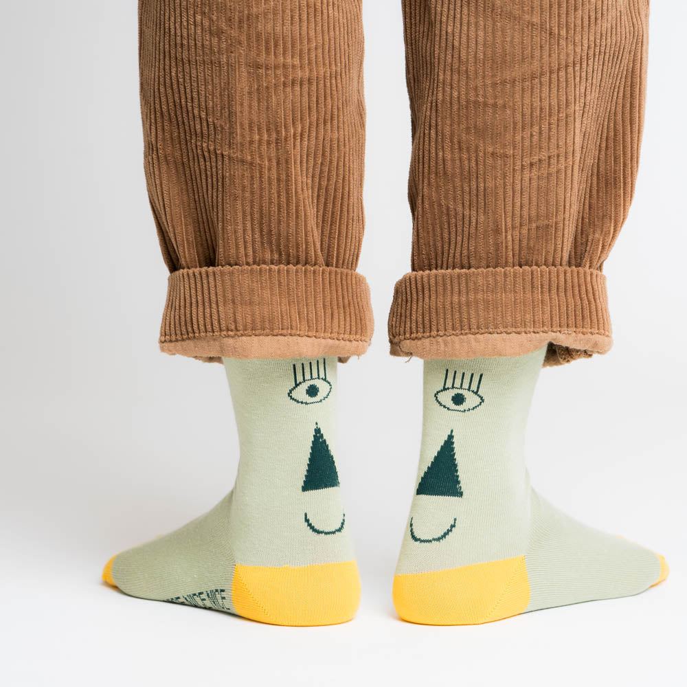 Friendly Socks - back face, green/green