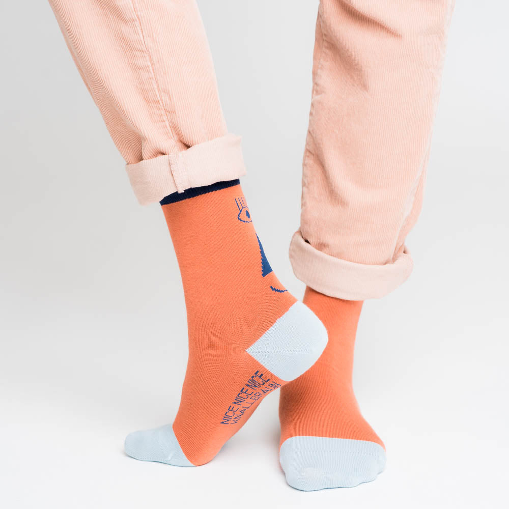 Friendly Socks - back face, blue/red