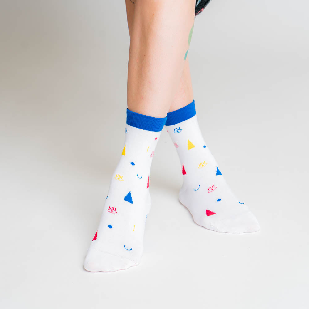 Friendly Socks - confetti face, white