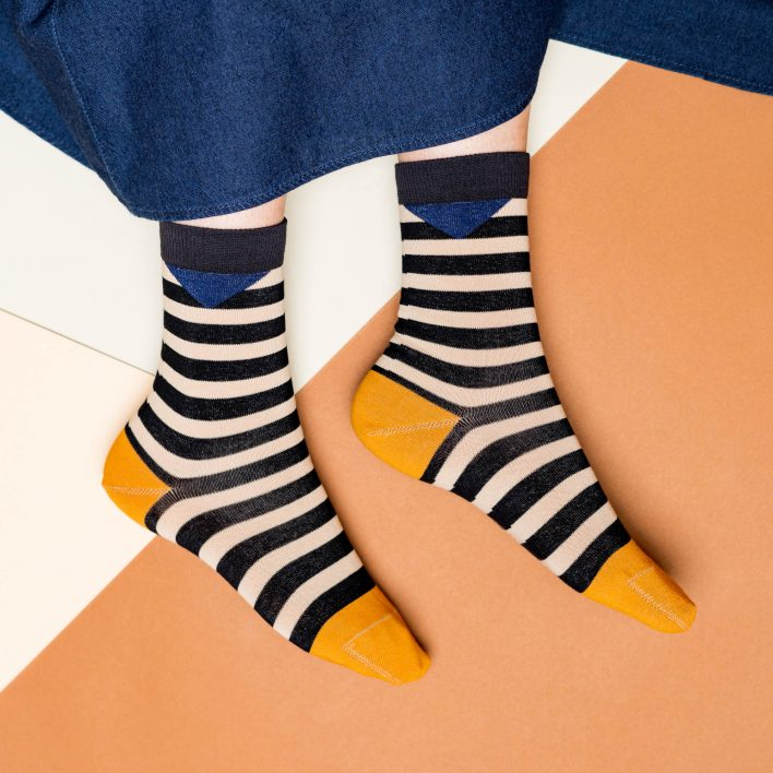 Nice Socks - block stripes, black/sand
