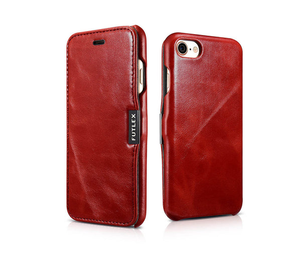 FUTLEX Vintage Leather Magnet Folio Case for iPhone 8 / 7 - Red