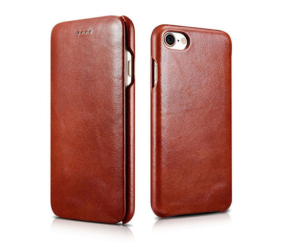 FUTLEX Vintage Leather Folio Case for iPhone 7 - Brown - Futlex