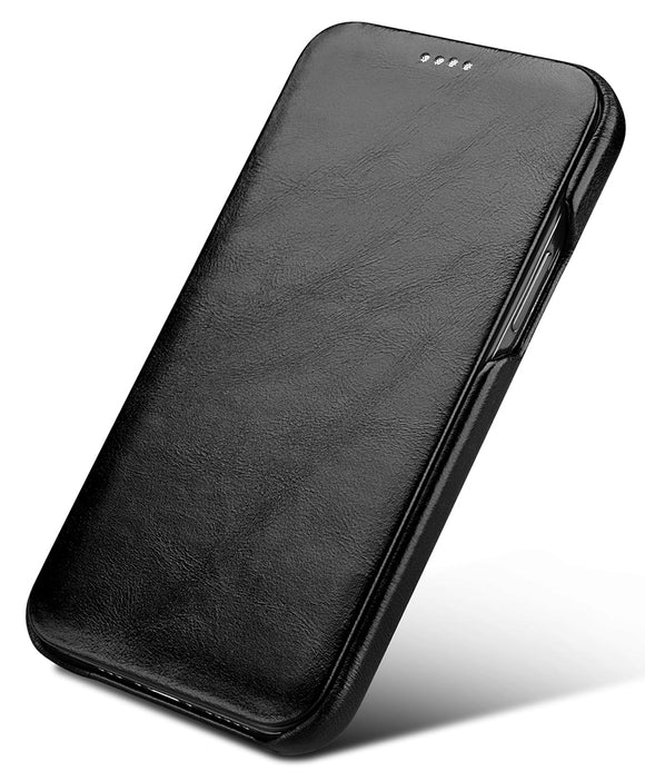 Vintage Leather Folio Case iPhone 12 / 12 Pro - Black