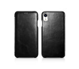 Vintage Leather Folio Case iPhone XR - Black