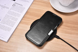 Vintage Leather Magnet Folio Case iPhone 12 / 12 Pro - Black