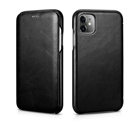 Vintage Leather Folio Case iPhone 11 - Black