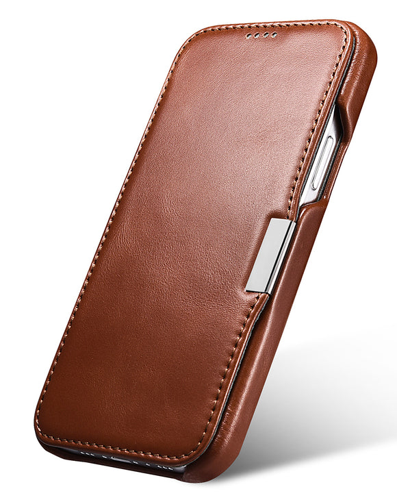 Vintage Leather Magnet Folio Case iPhone 12 / 12 Pro - Brown