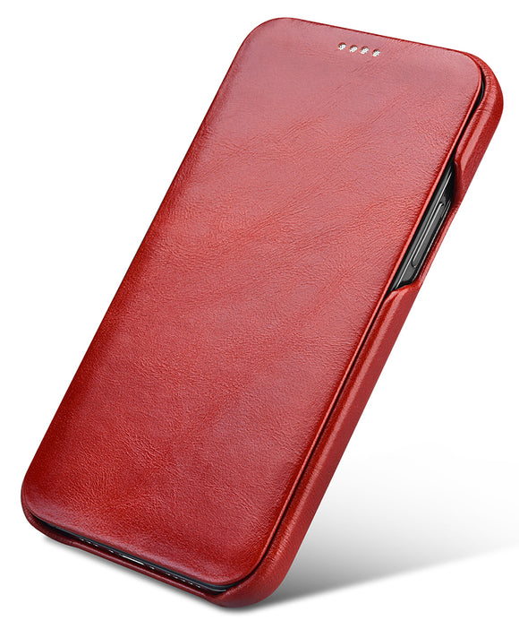 Vintage Leather Folio Case iPhone 12 / 12 Pro - Red
