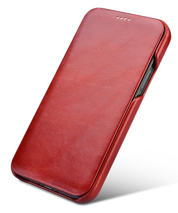 Vintage Leather Folio Case iPhone 12 mini - Red