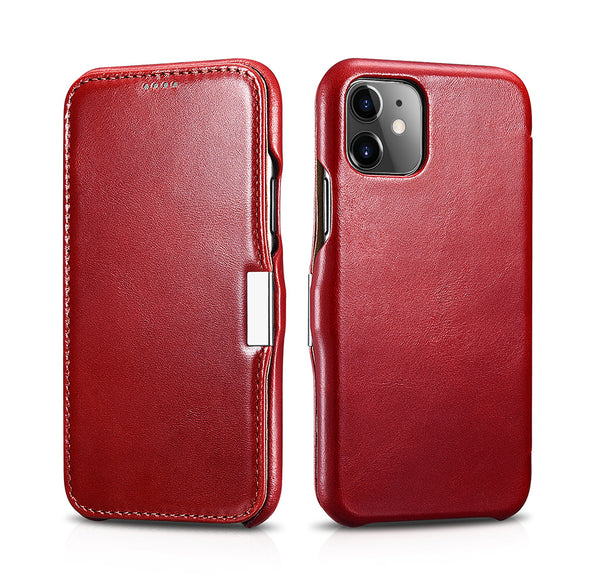Vintage Leather Magnet Folio Case iPhone 11 - Red
