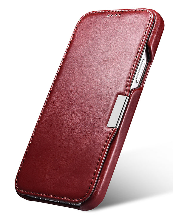 Vintage Leather Magnet Folio Case iPhone 12 / 12 Pro - Red