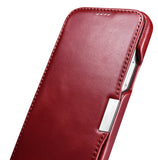 Vintage Leather Magnet Folio Case iPhone 12 mini - Red