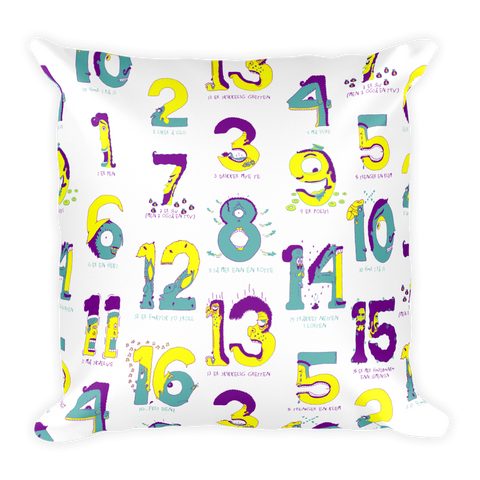 Numbers with Norwegian rhymes (tallrim) Pillow
